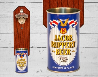 Jacob Ruppert Wall Mounted Bottle Opener with Vintage New York Beer Can Cap Catcher -  Gift for Dad Father Grad Groomsmen