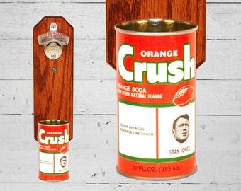 Denver Broncos Bottle Opener with Vintage Orange Crush Bronco Can Cap Catcher Stan Jones