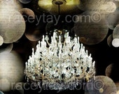 Chandelier Wall Art, Paris Decor, Gold, Black, Silver, Chandelier Print, Fashion Decor, Bedroom Wall Art