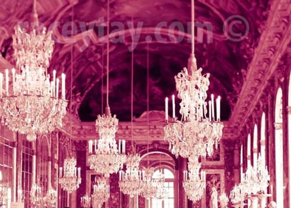 Pink Paris Print, Chandelier Wall Art, Baby Girl Nursery Decor, White, Pink, Versailles Chandelier