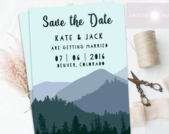 Mountain Save the Date, Mountain Announcement, Wedding Announcement, Mountain Wedding, Save the Date, Printable, Digital File, jadorepaperie