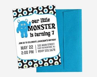 Little Monster Birthday Party Invitation for Boys - Printing Deposit or Printable / Digital File