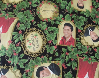 Vintage Vip Cranston ELVIS PRESLEY CHRISTMAS Cotton Fabric Material, 1-yard pieces, New 2005