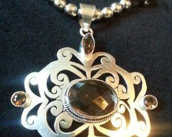 Big Bold Silver necklace with Smokey Quartz natural stones