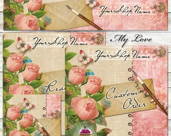 "New Sizes! Etsy Shop Images ""My Love"" One-of-a-kind set --  pink, green, garden, roses, shabby, rustic, letter, writing, butterfly, moth,"