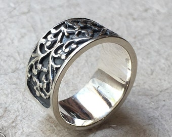 Sterling Silver band,  Filigree Ring, wedding band, statement ring, art nouveau ring, unisex band, wide silver band, oxidized - Karma R1146S
