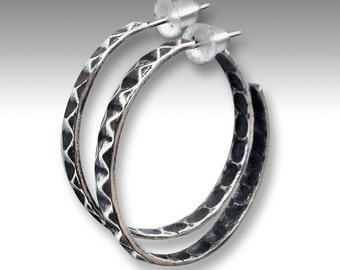 Boho Hoop earrings, sterling silver hoop earrings, gypsy hoops, hoop Earrings, rustic silver hoops, large hoop earrings - You and I - E8014