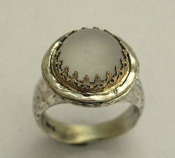 Gold crown ring, silver gold ring, Victorian ring, quartz ring, gemstone ring, statement ring, cocktail ring, boho ring - Glamour R1424C