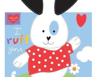 "Soft Book Panel ""I Ruff You"" Huggable and Loveable by Sandra Magsamen for Studio E Fabrics"