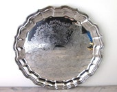Vintage Large Round Silver Plate Serving Tray Primrose