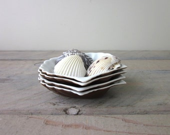 Vintage China Clam Shell Candy Bowls Set of Four Puls Diamant Bohemia