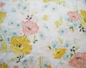 Vintage Sheet Fabric Fat Quarter – Floral Poppies Daisies Flowers Pink Yellow Peach Blue Green White Background