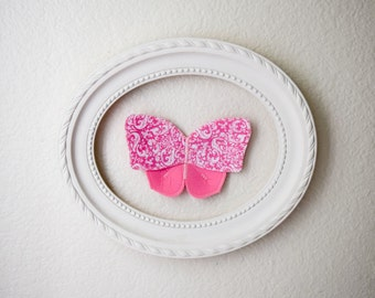 3d fabric butterfly, wall decor for girls room, nursery decor. pink butterfly fabric wall decal. 3d wall art