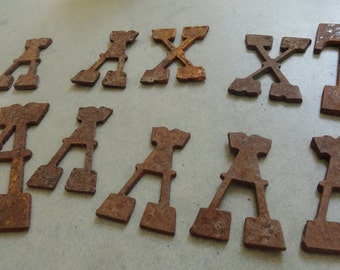 Vintage Metal Letters Rusty Super Sweet for Mixed Media Arts