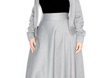 "Plus Size Sweatshirt Maxi Skirt / Women plus size High Waist / Sweatshirt Fleece 42"" L"