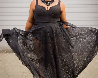 "Lace Plus Size Maxi Skirt plus size High Waist / plus size  2 - 24 ) 44"" L"
