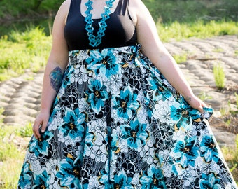 Floral Maxi Skirt / Women plus size High Waist