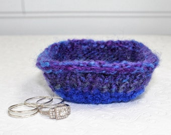 Blue and Purple Knit Felt Ring Bowl,  Mini Wool Ring Bowl,  Blue Ring Bowl, Small Knit Ring Bowl, Blue Felt Wool Bowl, Purple Wool Bowl
