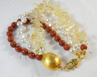 Multi strand gemstone bracelet Multi color bracelet Self Stacking Bracelet Sun Stone Citrine Freshwater Pearls