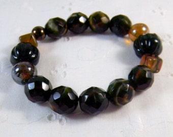 Chunky brown bracelet Chunky Stretchy Bracelet Brown glass beads Fashion Stacking bracelet