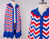 Vintage 70s hand knit AMERICANA chevron shawl