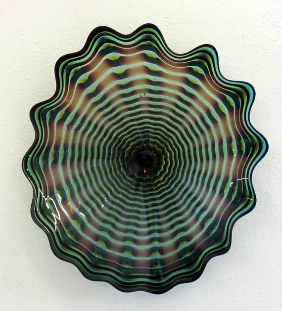 beautiful hand blown glass art wall platter bowl 6460 oneil. Black Bedroom Furniture Sets. Home Design Ideas