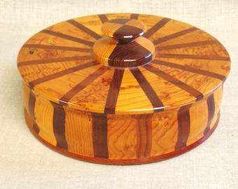 Vintage Folk Art Box, Round Wooden, Desk Storage, Jewelry Box, Trinket, Dresser, Handmade, Wooden, Organization, Striped, Hand Crafted