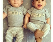 """Scrabble tiles TWIN """"Double Score Baby A and Baby B"""" Bodysuits (onesies for TWINS)"""