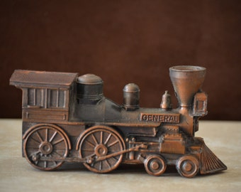 Banthrico Bank-Great Train Chase Bank--General Locomotive Train Bank--White Metal Train Engine Bank -70s/80s