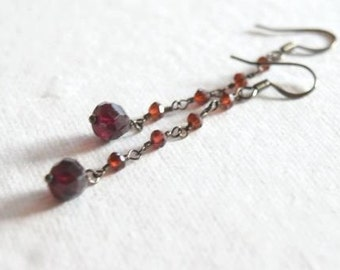 Faceted Garnets and Oxidized Sterling Chain