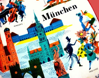 Collectible 1950s Munchen Munich Germany Novelty Handkerchief Made in Switzerland by Stoffels - Hand Rolled With Original Tag