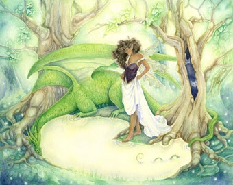Fairy Art Watercolor Print - Dragon's Pool - fantasy. enchanted. forest. fairy. wild. green. golden. magical. trees. emerald. fairy tale.