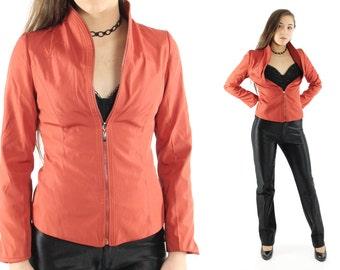 Vintage 90s FENDI Zipper Jacket Rust Blazer High Collar Fitted Jacket 1990s Designer Fashion Small S