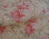 """Vintage 60s Pink & White Floral with Abstract Gray Shaded Leaves Cotton Fabric, 33"""" x 2 YDs"""