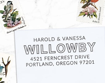 Custom Address Stamp, Personalized Address Stamp, Calligraphy Stamp, DIY, Modern Wedding Address Stamp, Eco Mount or Self Inking - Willowby