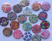 "Lot of  20 Bohemian patterns 1"" or 1.25""  buttons pinback flatback hollowback or magnet you choose"