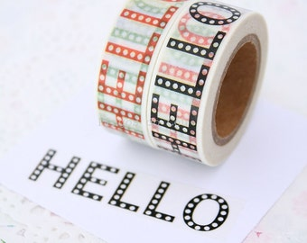 HELLO Washi Tape - Scrapbooking - Gift Wrapping - Packaging Supplies - 1 Roll - 10 mt - Ready to Ship