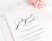 Vintage Glam Wedding Invitation - Calligraphy - Unique, Romantic Wedding Invitation - Floral Wedding Invitations - Dove Gray -Deposit