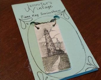 Scrimshaw Necklace Lighthouse and Path OOAK Great Gift Idea