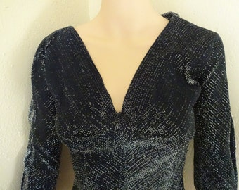 50s black silver lurex top chromspun v neck blouse tie sleeves fitted waist