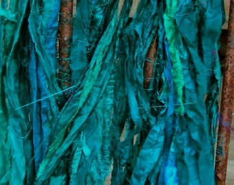 Teal Recycled Sari Silk Ribbon 5 or 10 Yards Ribbon for Yarn Jewelry Weaving Spinning