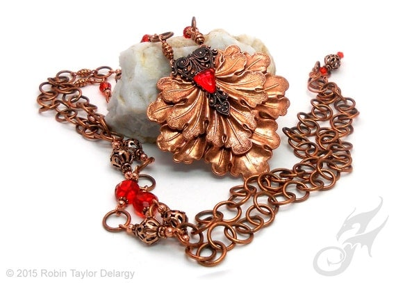 Copper Oak Leaf & Filigree Statement Necklace with Copper Beads and Hyacinth Red Orange Crystal N0272 by Robin Taylor Delargy RTD