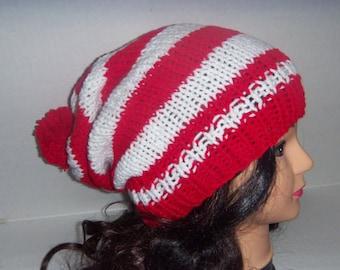 Red and White Striped Beanie With Pom Pom, Santa Hat, Christmas Hat, Xmas, Pom Pom Hat, Holiday hat