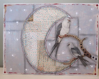 Moon and birds collage, mixed media, recycled art
