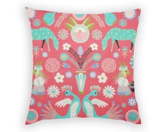 Red Decorative Pillow Cushion Cover Slip Sham Square 17x17 Inch Folk Art Birds Horses Goat Flowers Colourful Colorful Symmetrical Design