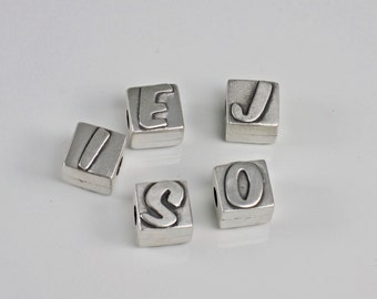 Alphabet Initial Letter Bead Silver Pandora-Style Large Hole - Custom - Made To Order