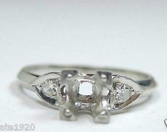 Antique Vintage Art Deco Platinum Engagement Ring Setting | Will Hold-5MM | ES-199
