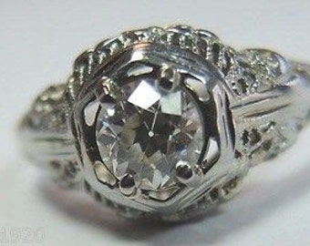 Antique Diamond White Gold Engagement Ring | RE: 807