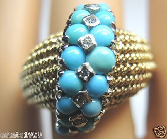 Antique Persian Turquoise Diamond Yellow Gold Retro Engagement