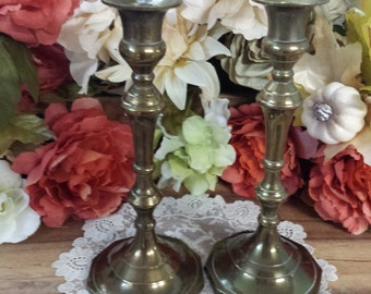Vintage Pair Brass Candle Stick Holders, Candle Stick Holders, Candle Holder, Altar Pieces